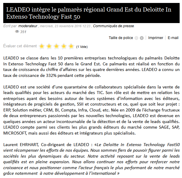 Leadeo leads IT Deloitte In Extenso Technology Fast50