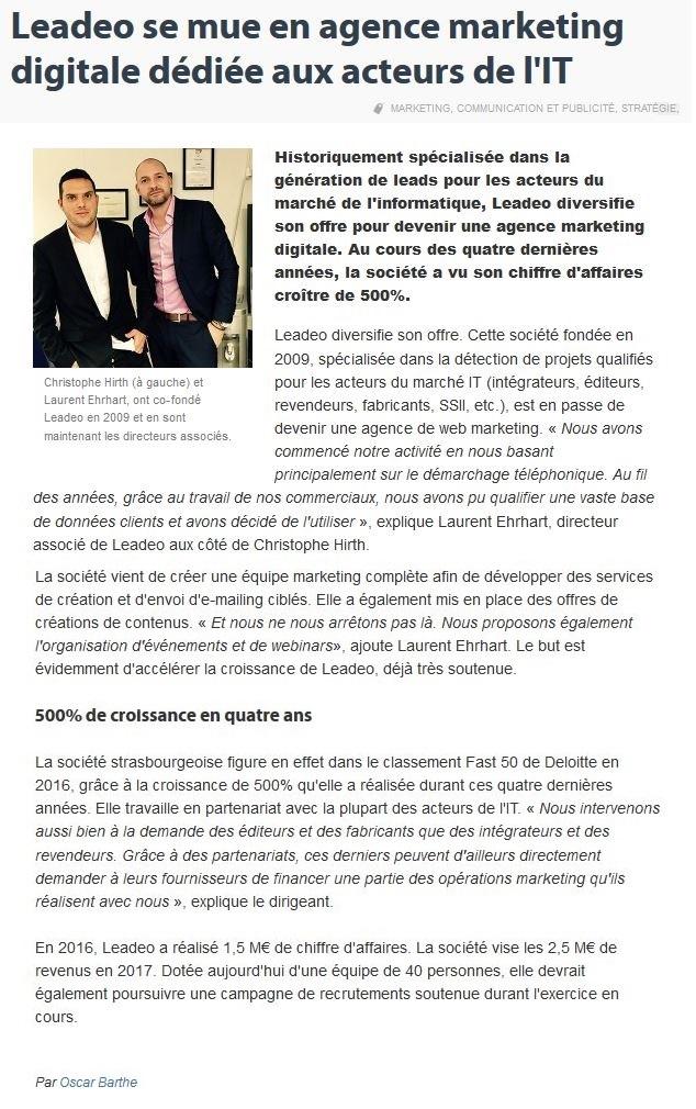 Leadeo se mue en agence de marketing digitale spécialisée dans l'IT