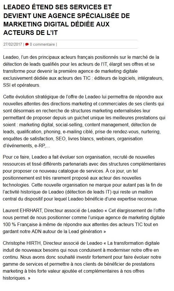 LEADEO étend ses services et devient une agence de marketing digital